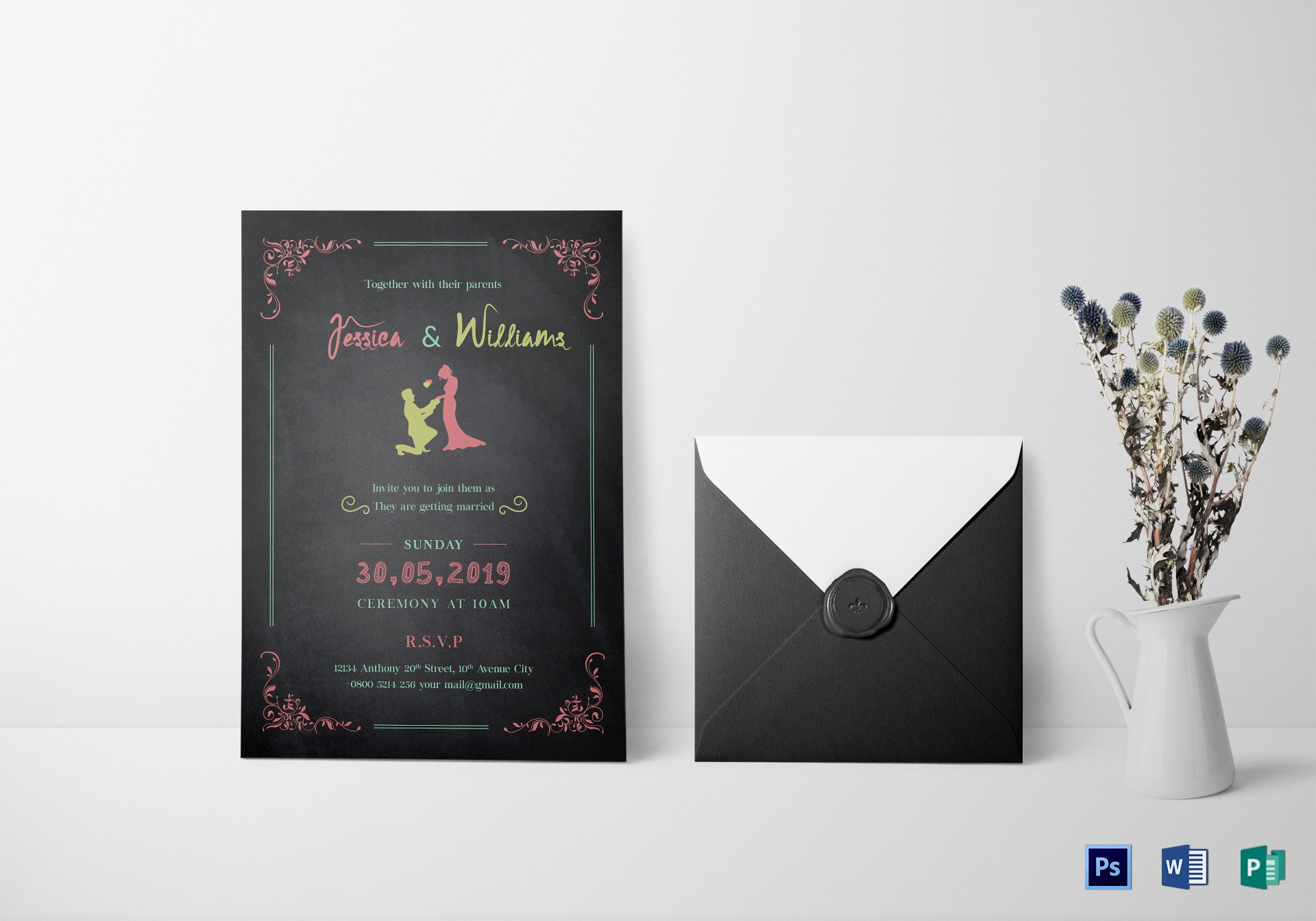 colorful chalk wedding invitation template