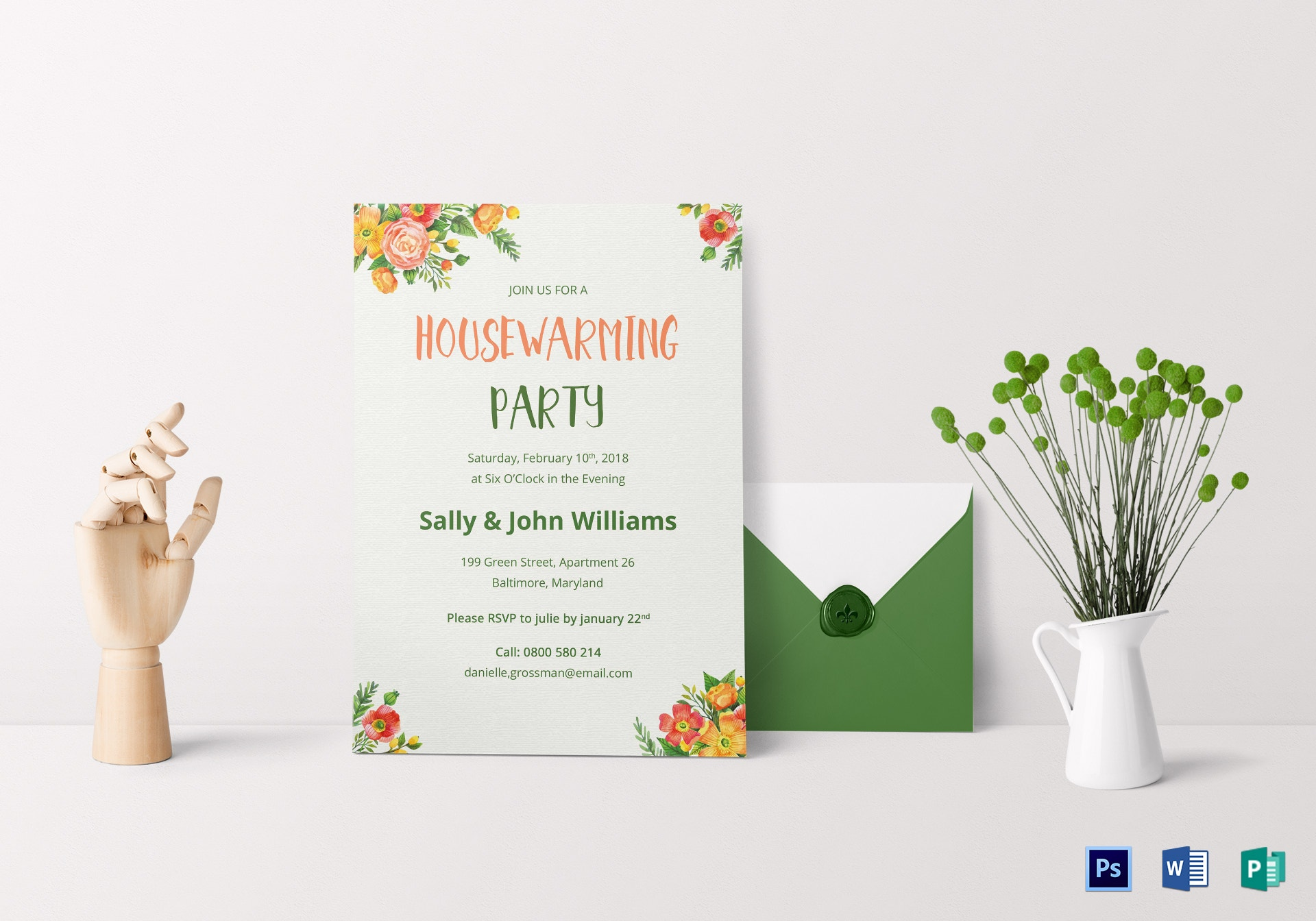 colorful housewarming invitation card sample
