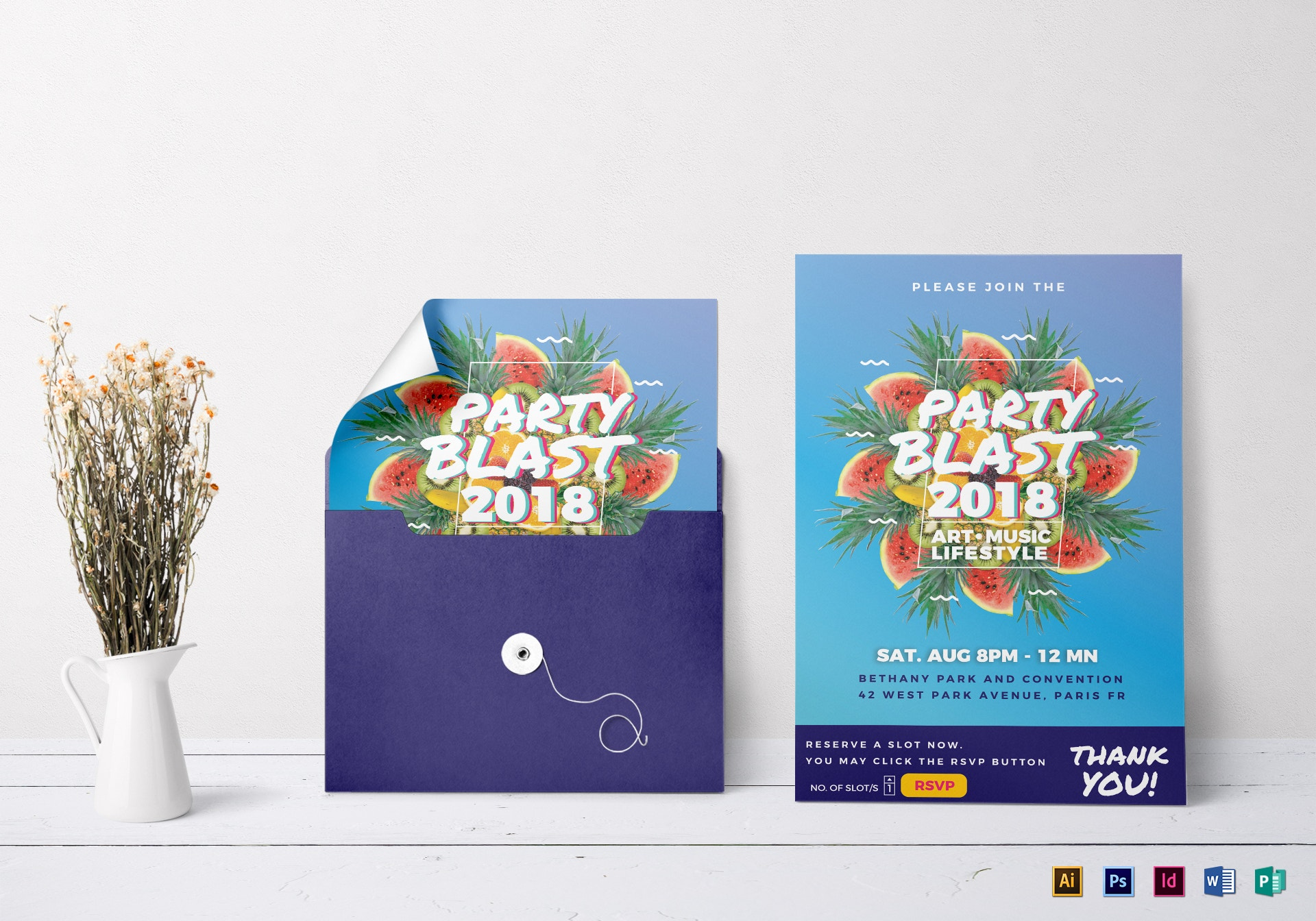 colorful party blast invitation example