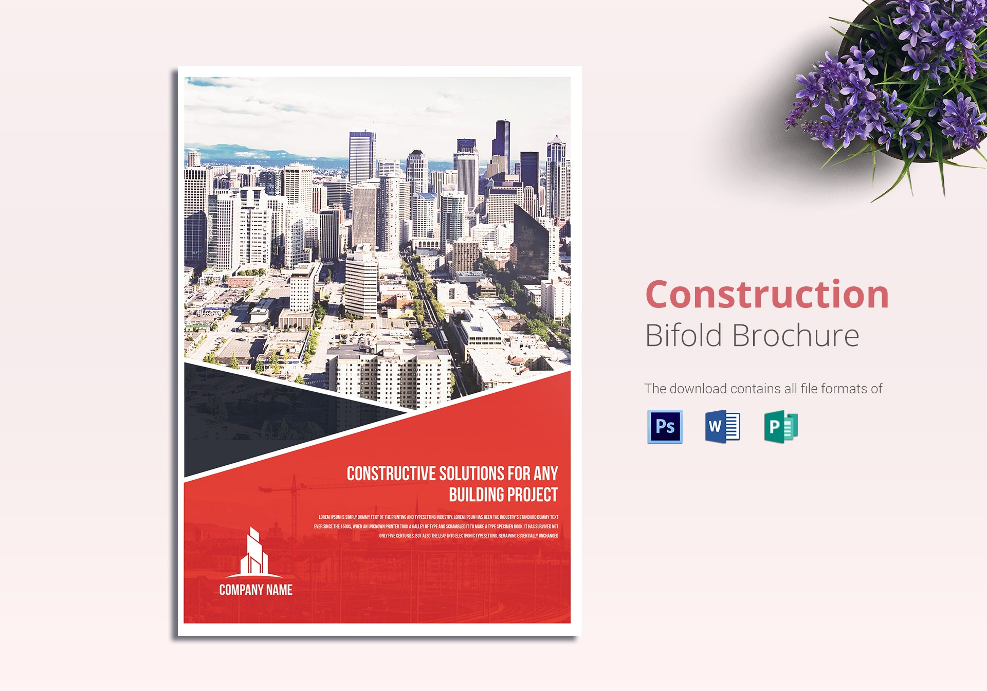 construction solutions bifold brochure template