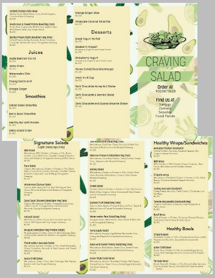 Craving Salad Takeaway Menu Template