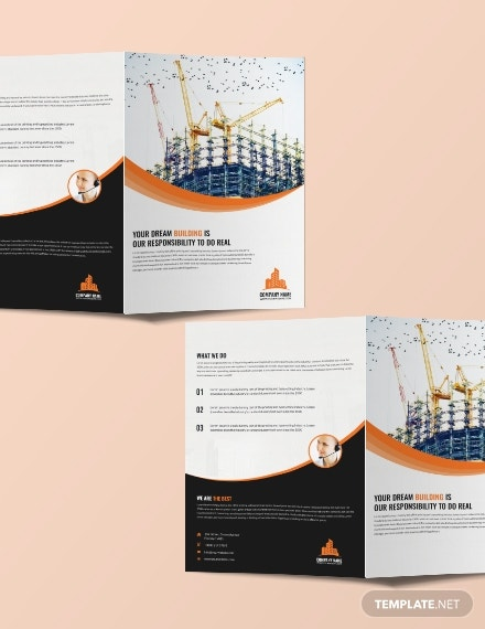 creative construction bifold brochure design