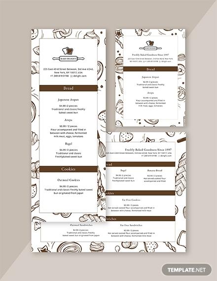 creative design bakery menu format