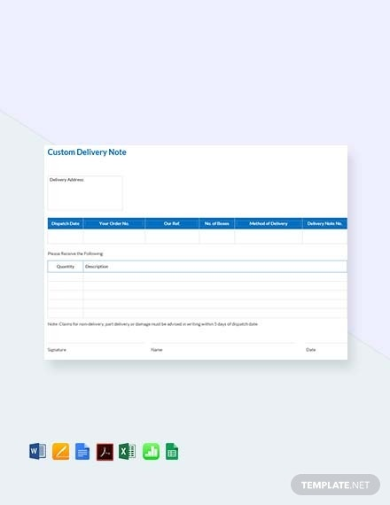 custom delivery notes template