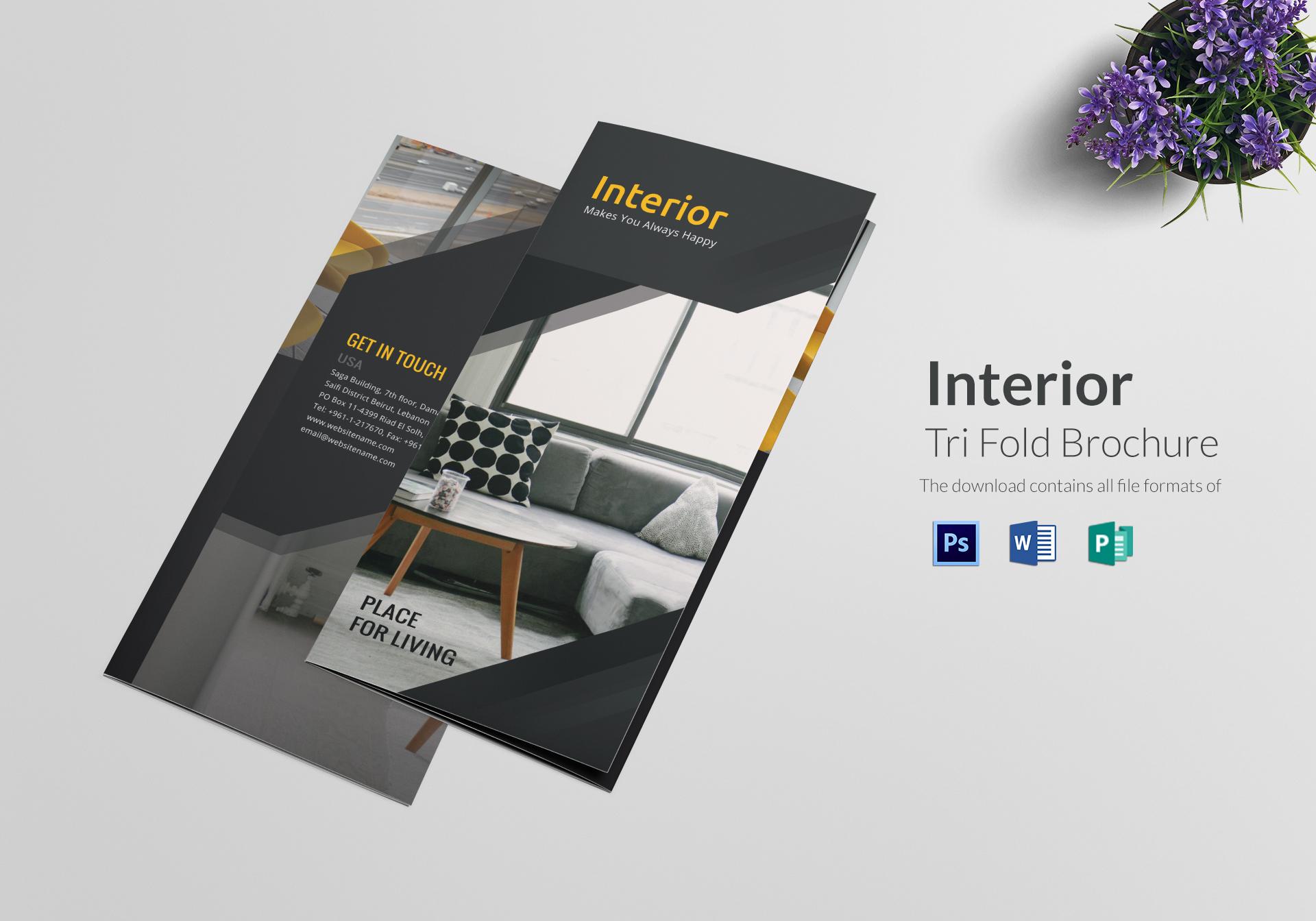 dark themed interior trifold brochure