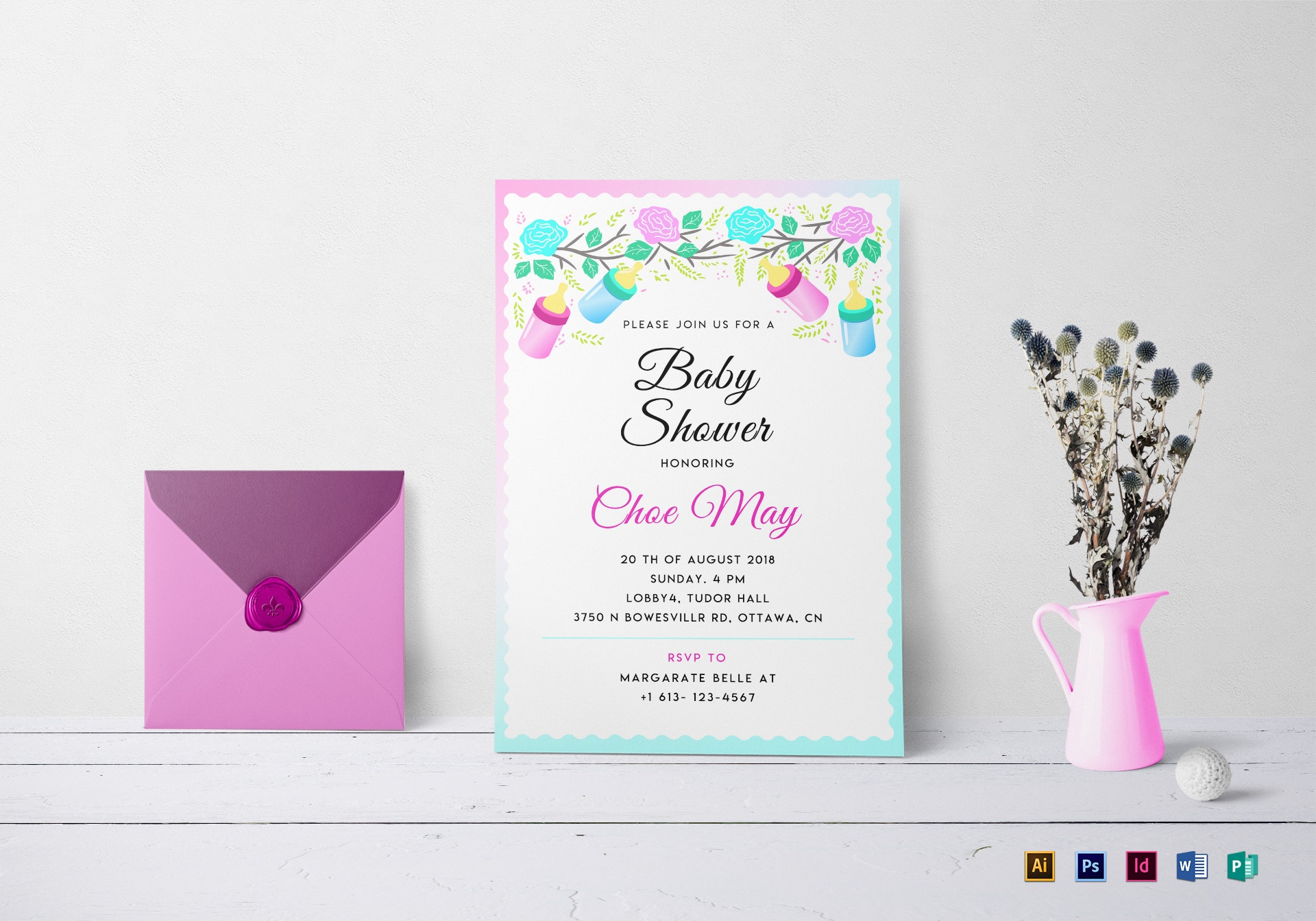 editable baby shower invitation sample