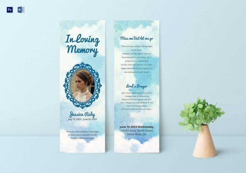 editable memorial bookmark psd template 788x552