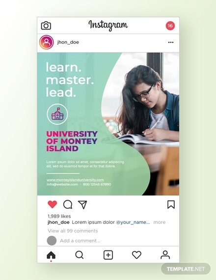 education instagram ad template psd