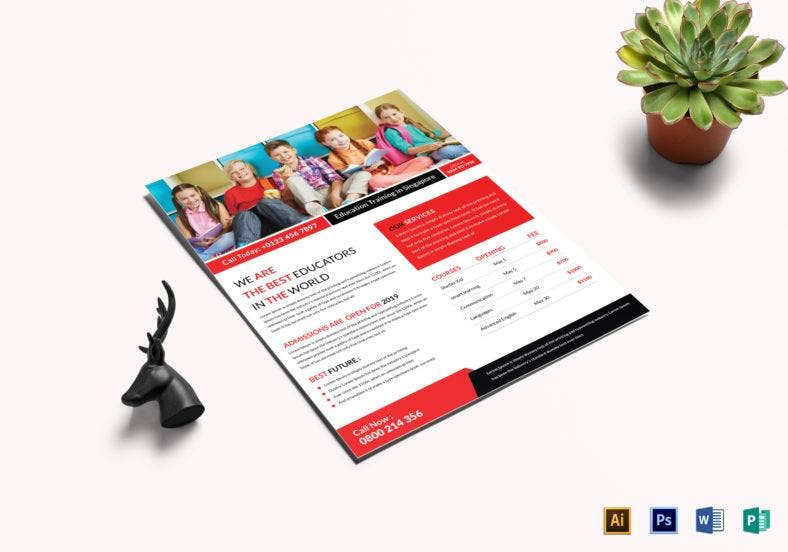 education training flyer template 788x552