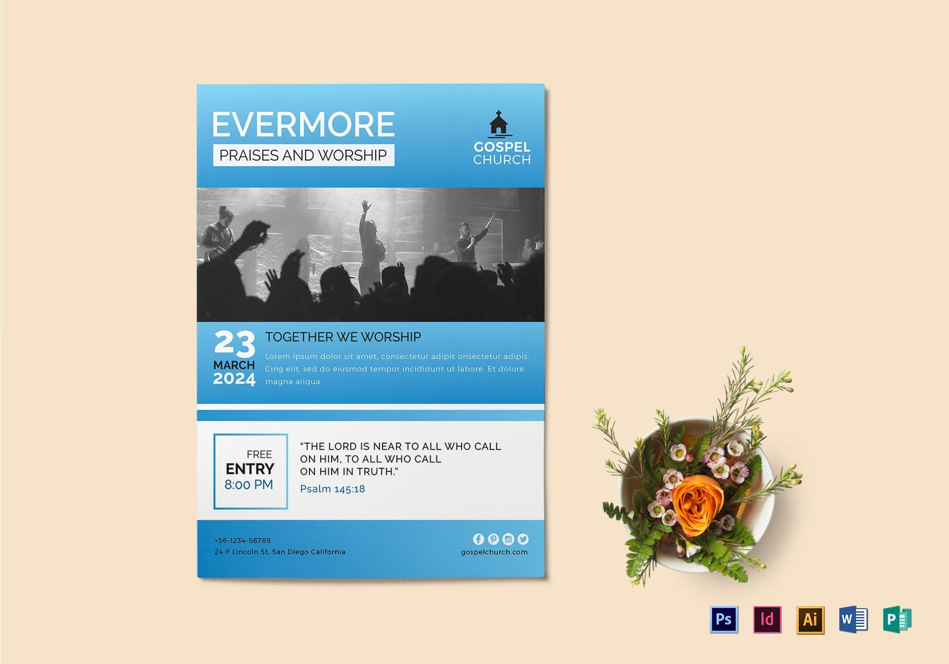 evermore praises church flyer layout