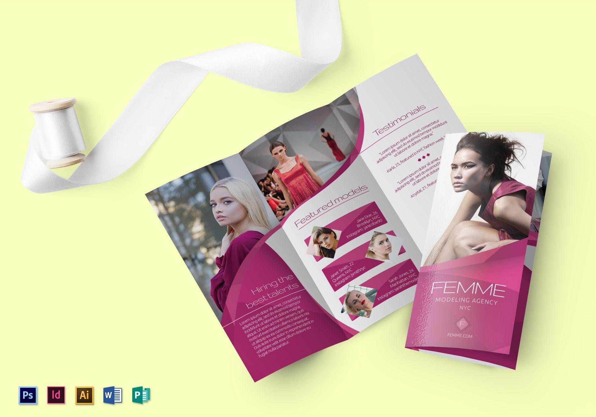 femme modeling agency brochure template