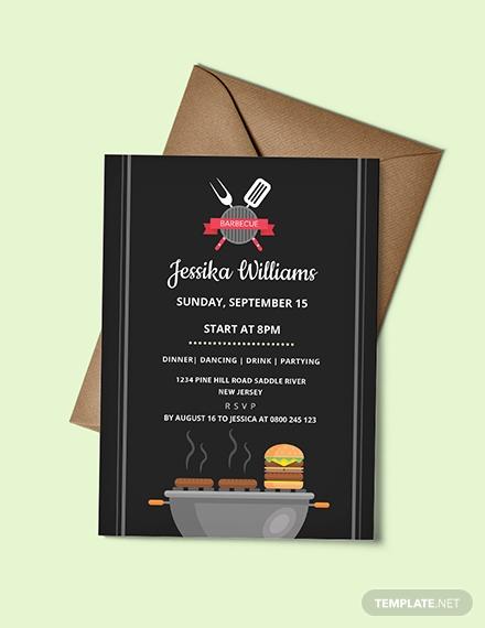 flat barbecue party invitation design