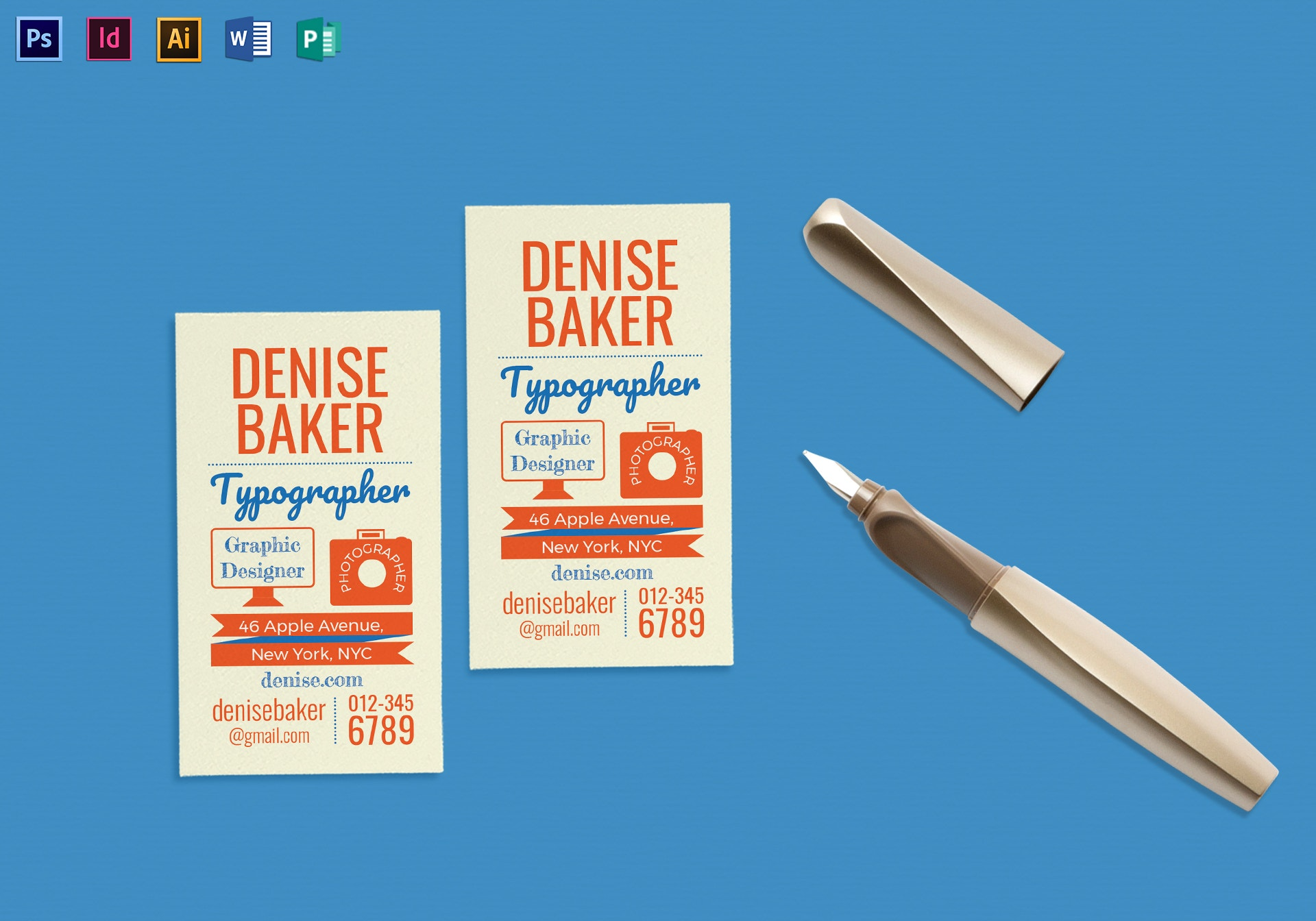 flat typographic business card sample