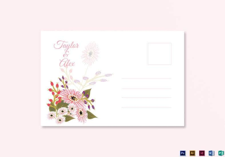 floral wedding post card template 788x552