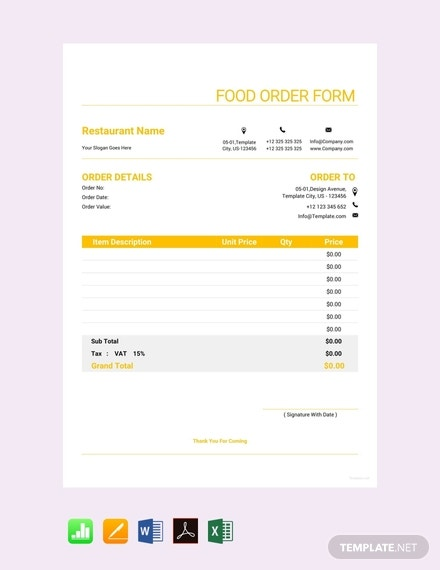 food order form template1