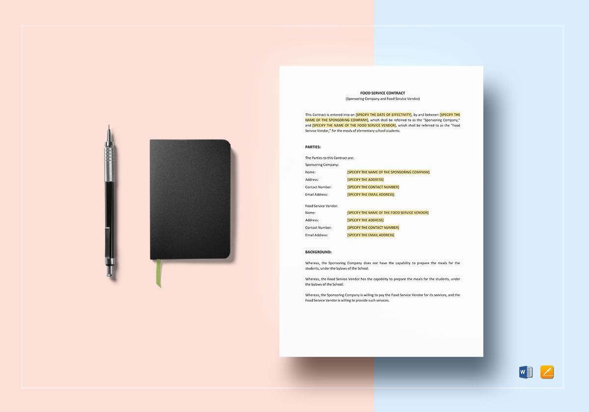 food service contract mockup