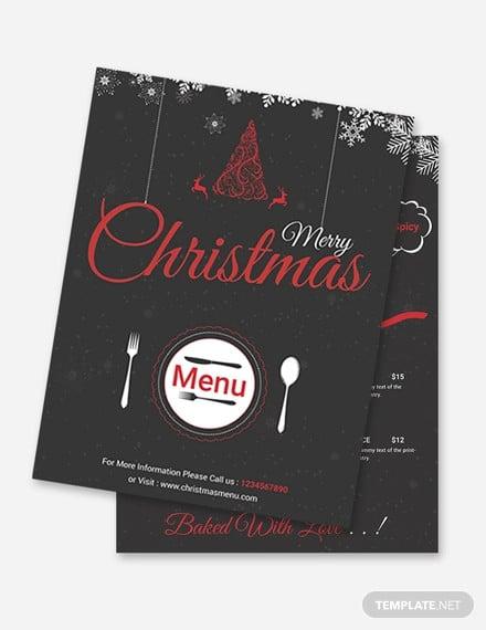 free christmas menu flyer template