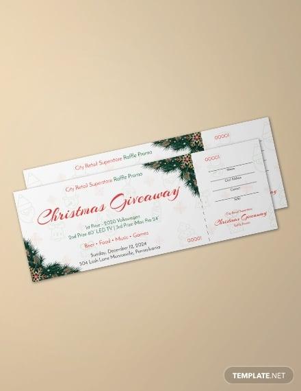 free christmas raffle promo ticket template1