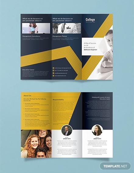 free college tri fold brochure template 1x