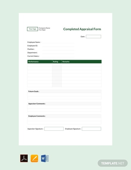 free completed appraisal form template