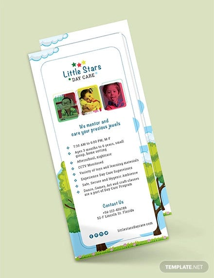 free daycare rack card template