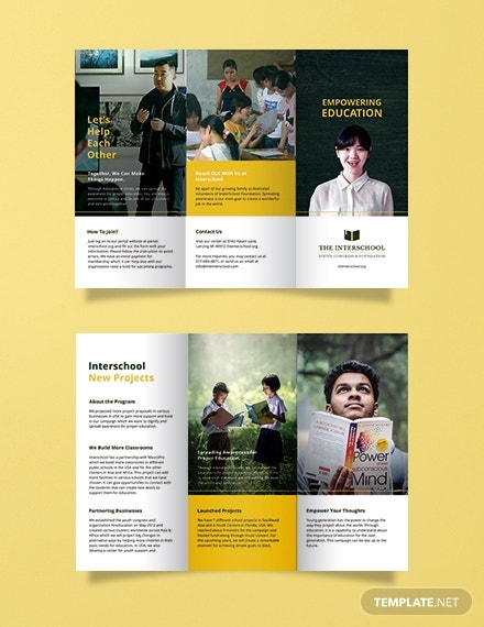 free education trifold brochure template 1x