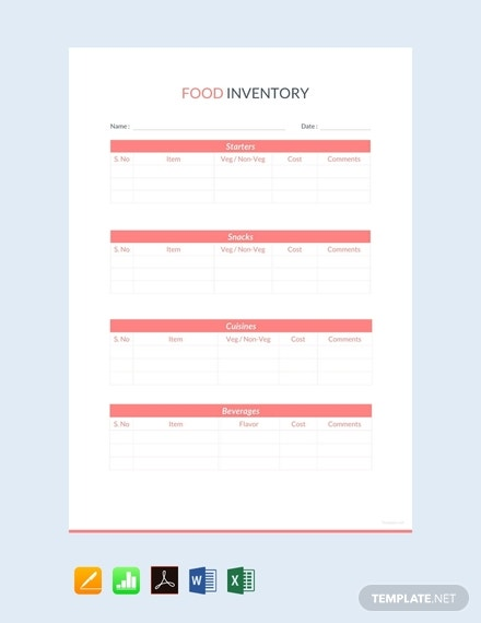 free food inventory sheet template