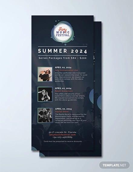 free music festival rack card template