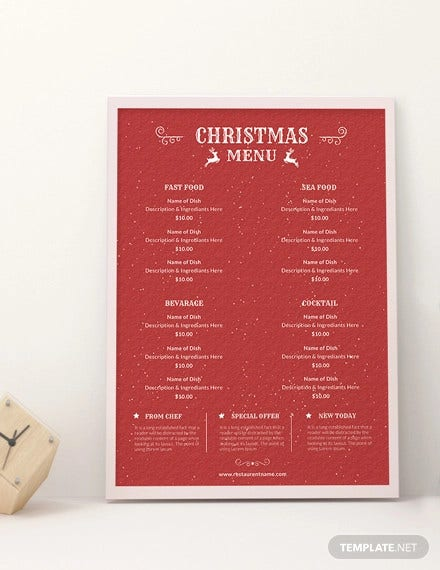 free retro christmas menu template