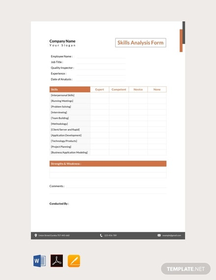 free skills analysis form template