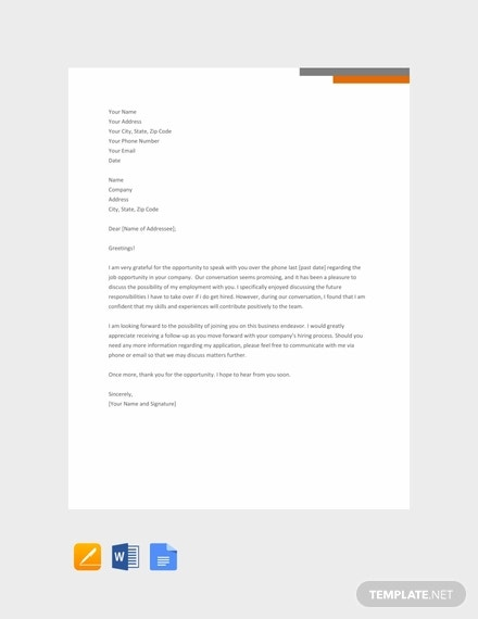 free thank you letter after phone interview template