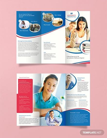 free university tri fold brochure template 1x