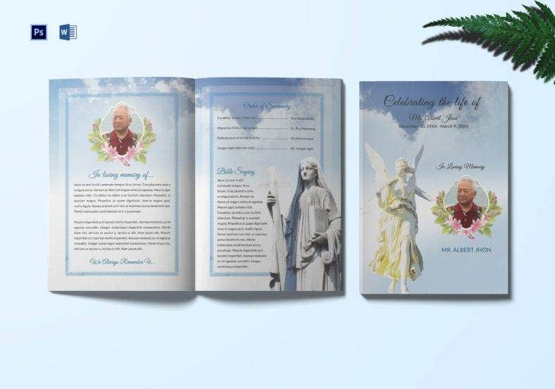 funeral program bi fold invitation template 788x552