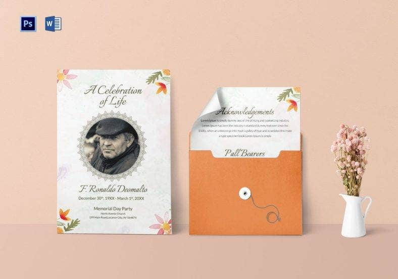 funeral program invitation template for celebrities 788x552