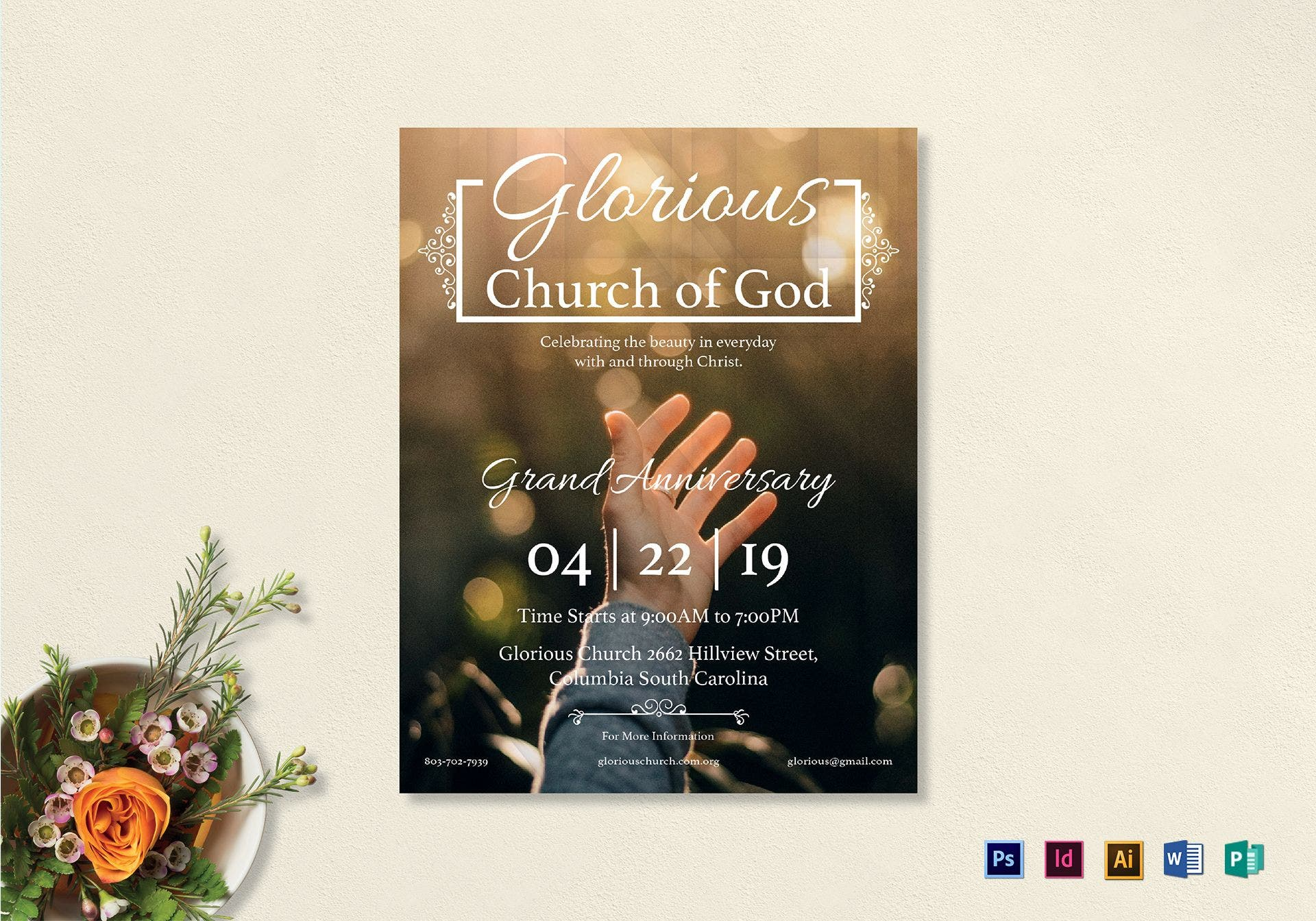 glorious church of god flyer example