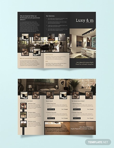 grand hotel trifold brochure example