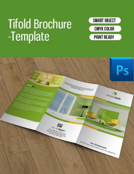 green interior design trifold brochure
