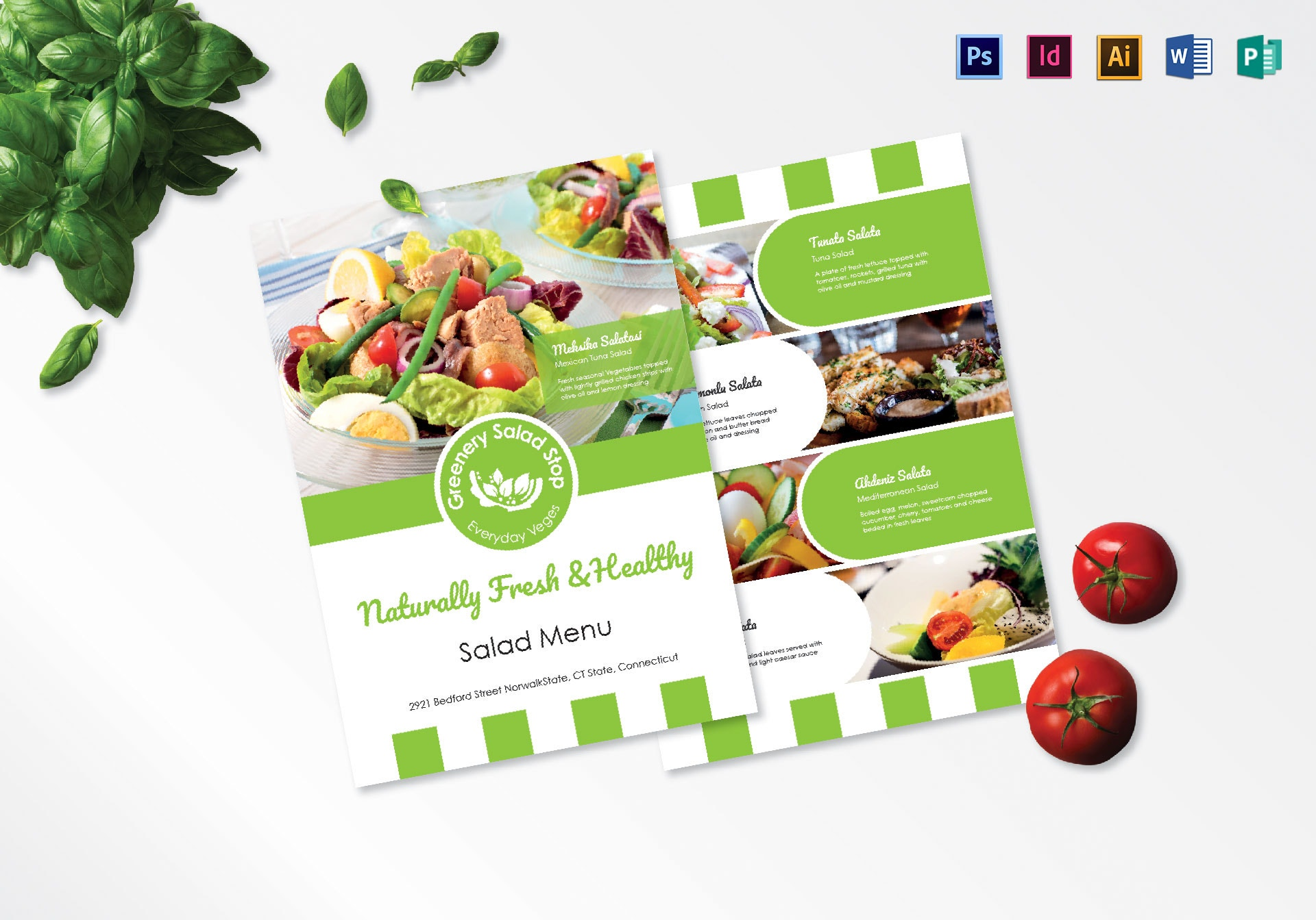 greenery salad stop menu template