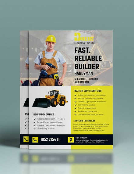 handyman construction company flyer template
