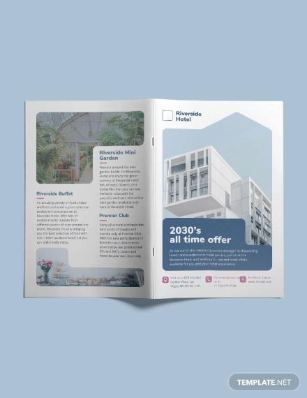 hotel bi fold brochure template
