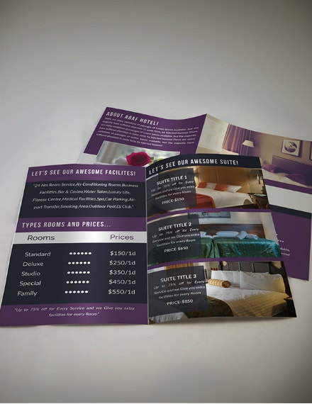 hotel management bifold brochure example