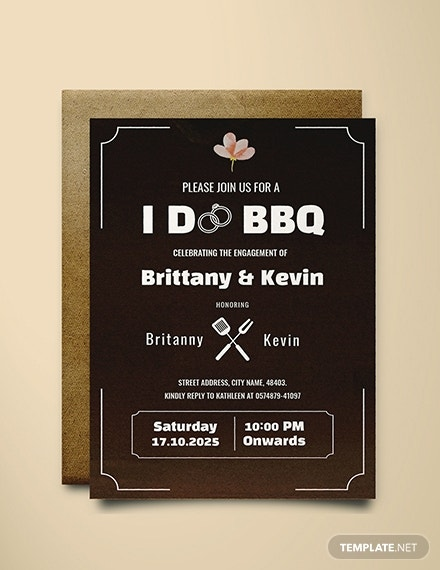 i do bbq engagement invitation