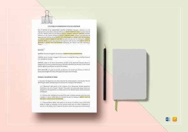 it systems hr management services agreement