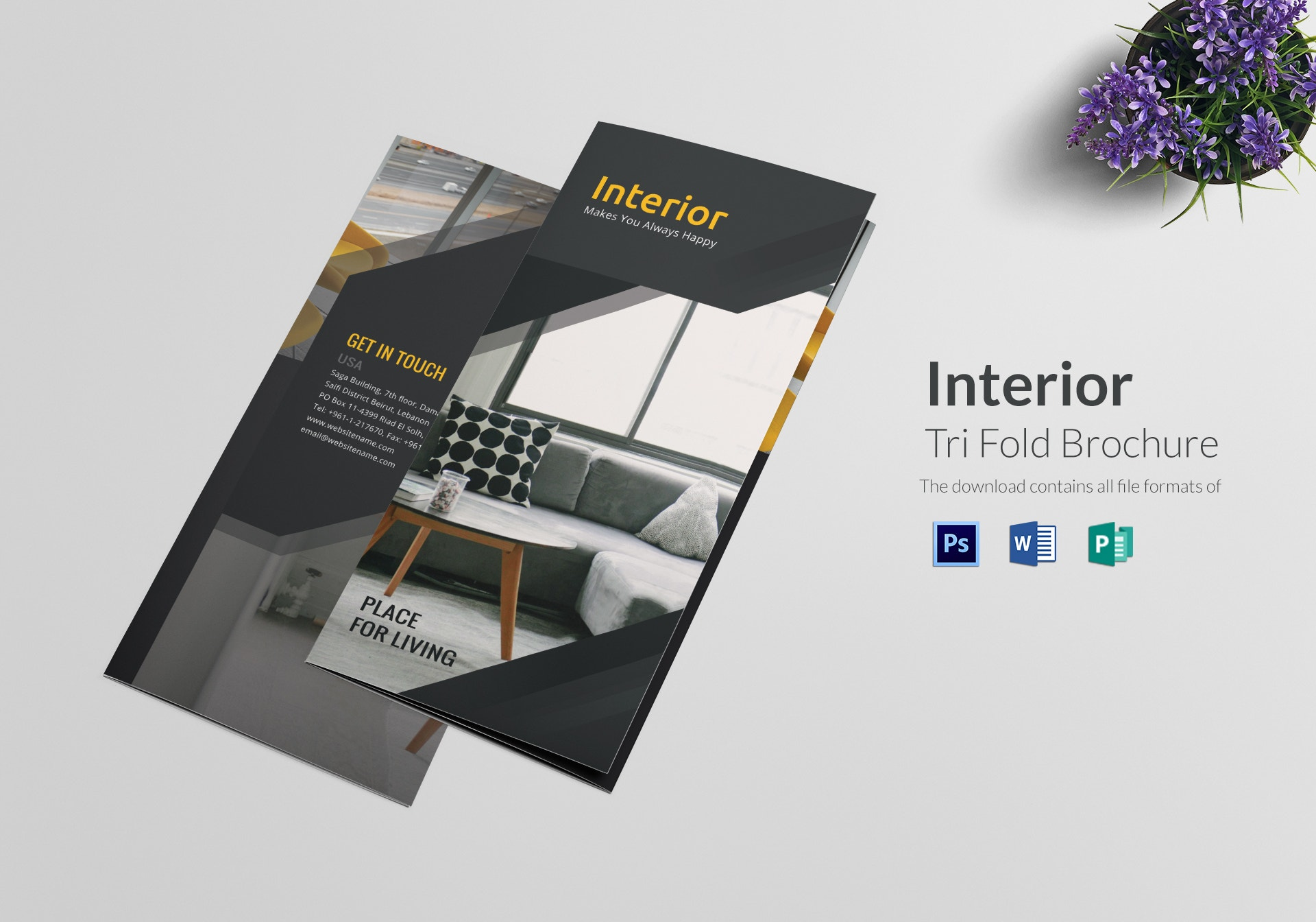 interior tri folding brochure