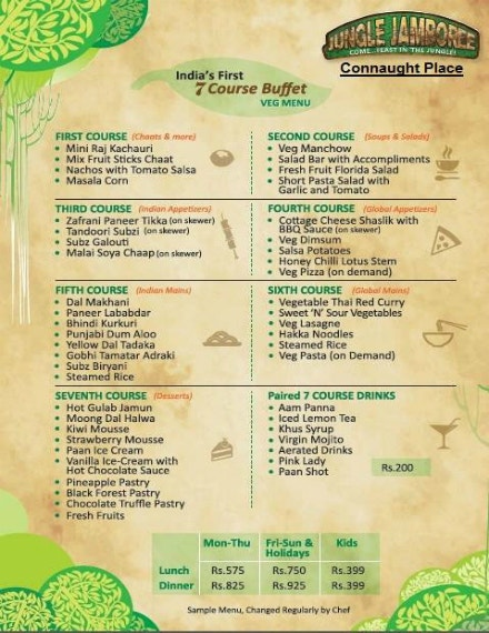 jungle jamboree buffet menu sample