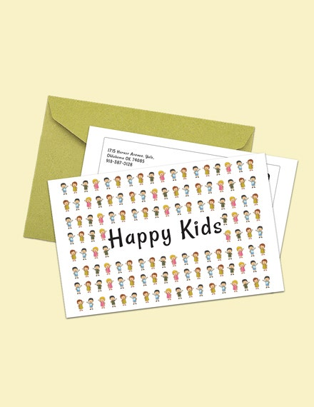 kids postcard psd template