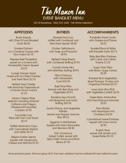 manor inn event banquet menu