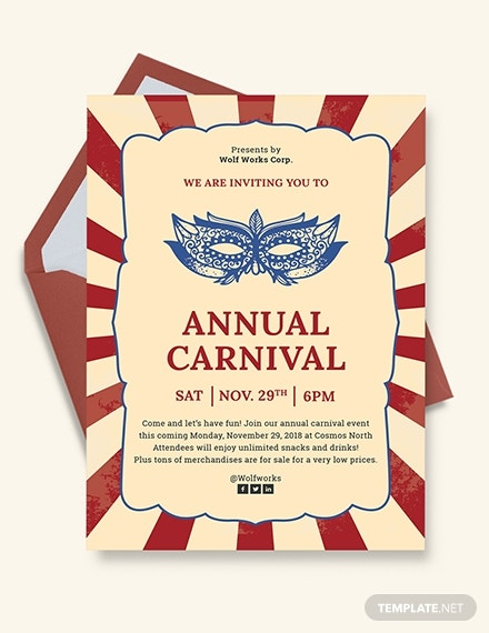 masquerade carnival invitation card template