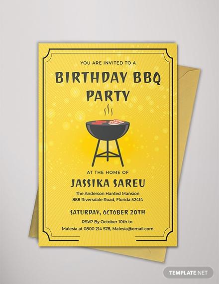 minimal bbq birthday party invitation