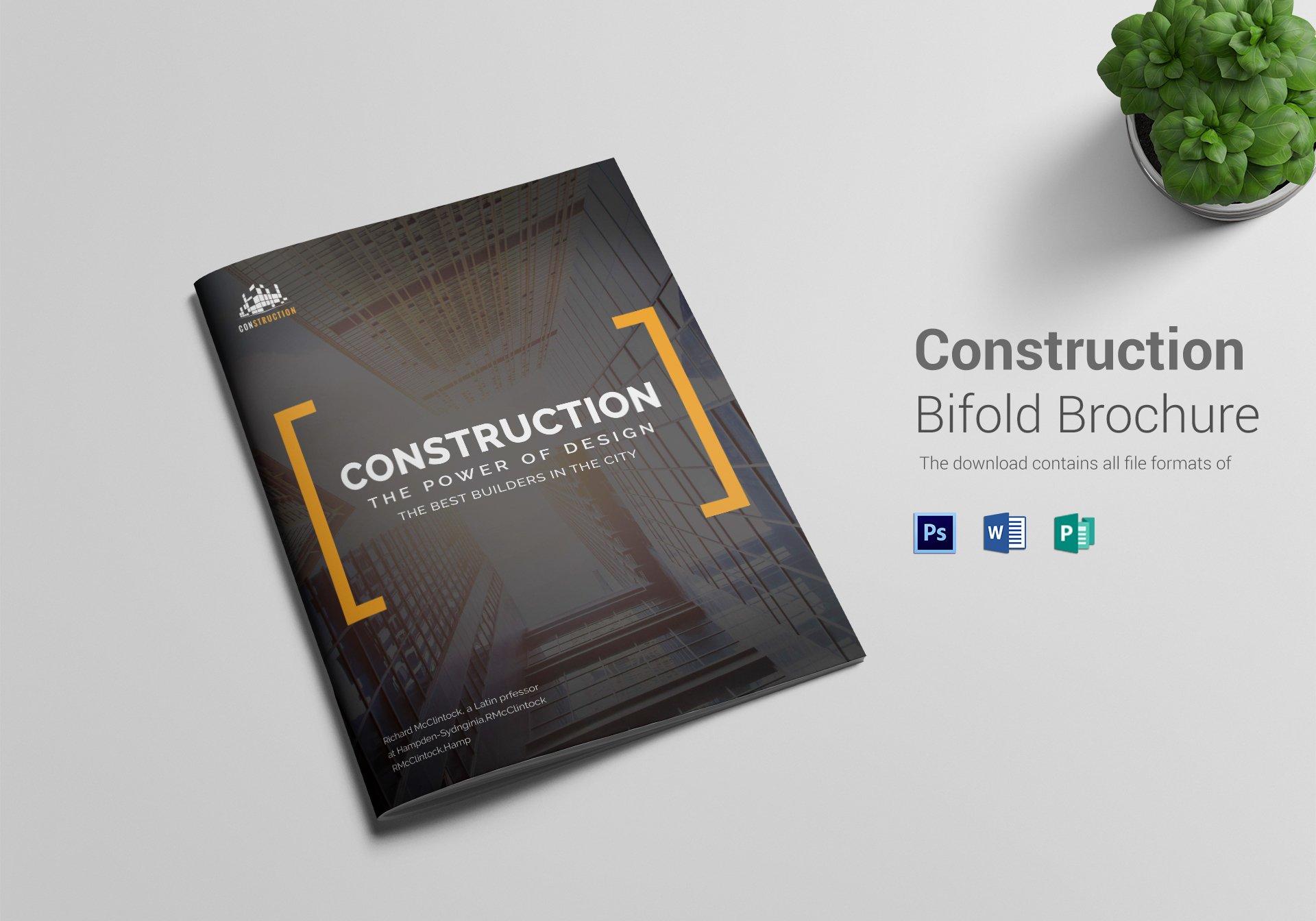 minimal construction company brochure layout